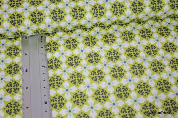 Baumwolle | bedruckt | Blumenzeit | weiß-gelbgrün