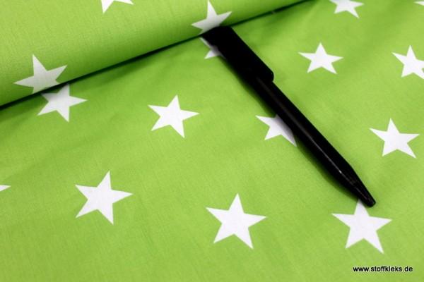 Baumwolle | bedruckt | 3cm Sterne | grün/weiss