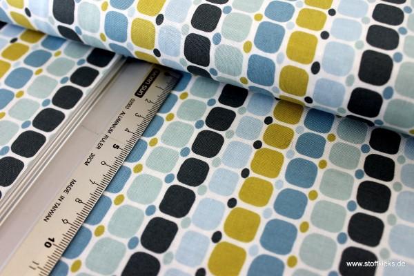 Baumwolle | bedruckt | Copenhagen Print Factory | square dots | blau/weiß