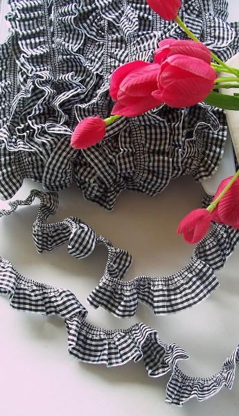 Rüschenband | Elastisch | 25mm | Vichy | schwarz/weiß