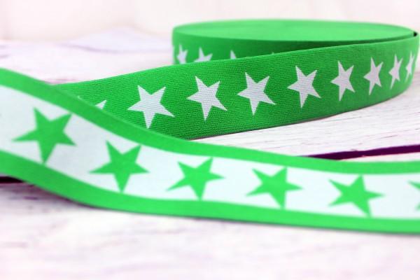 Gummiband   beidseitig nutzbar   Sterne   grün/weiss   4cm