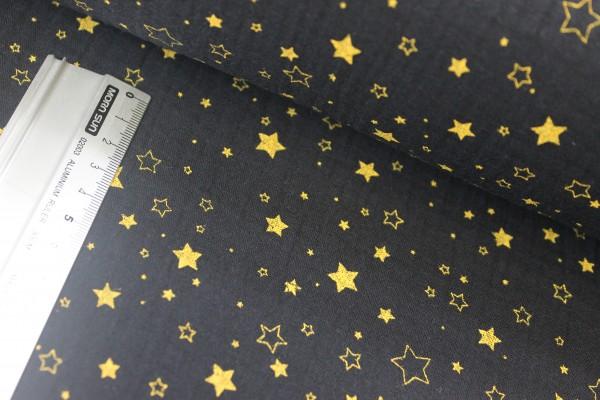 Baumwolle   double gauze / Musselin   volle & leere Sterne   schwarz/gold