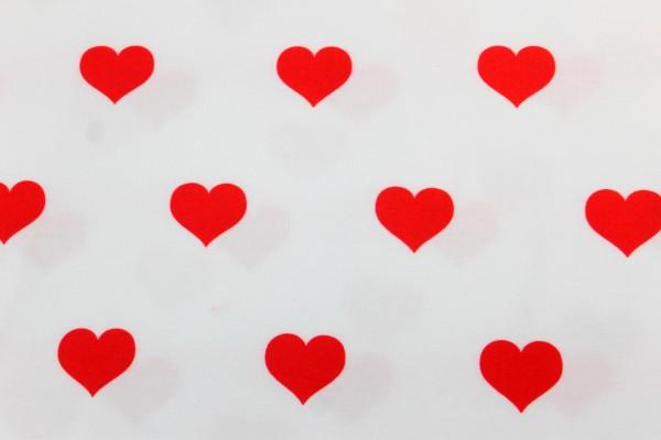 Jersey | bedruckt | Herzen rot | weiss