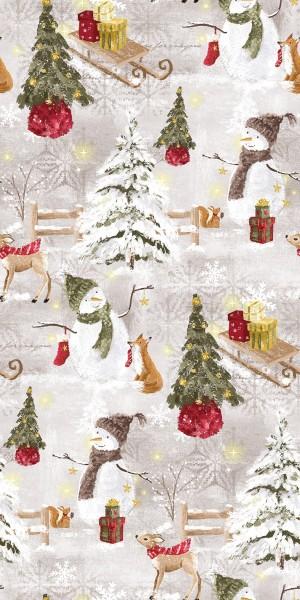 Baumwolle | bedruckt | Snowman | naturel
