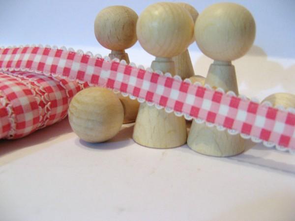 Gummiband | mit Spitze | 15mm | Karo | pink/weiß