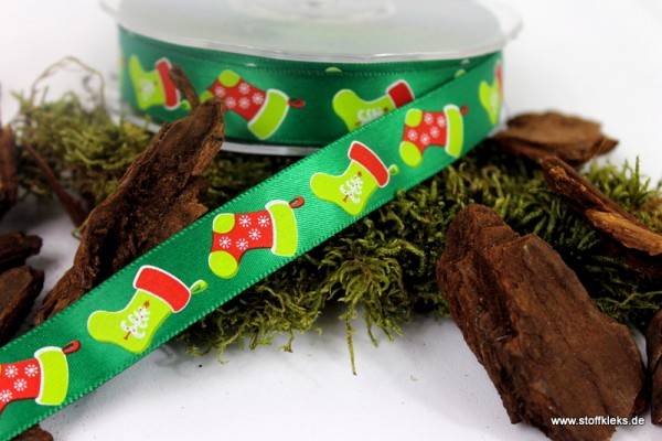 Satinband | Weihnachtssocken | grün