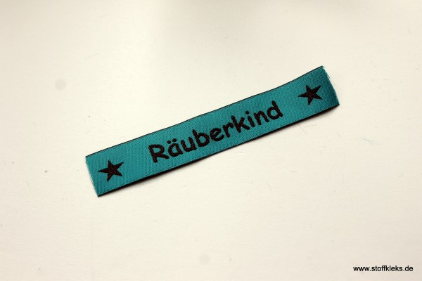 Applikation   Label   Räuberkind   petrol mit braun   1,5 cm