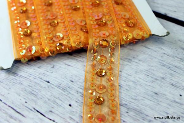 Organzaborte | Pailletten | orange | 2,5 cm