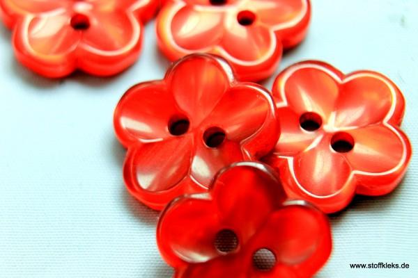 5 Knöpfe | Kunststoff | schimmernde Blume | rot | 1,5 cm