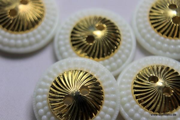 Knopf | Kunststoff | weiß & gold | 1,8 cm