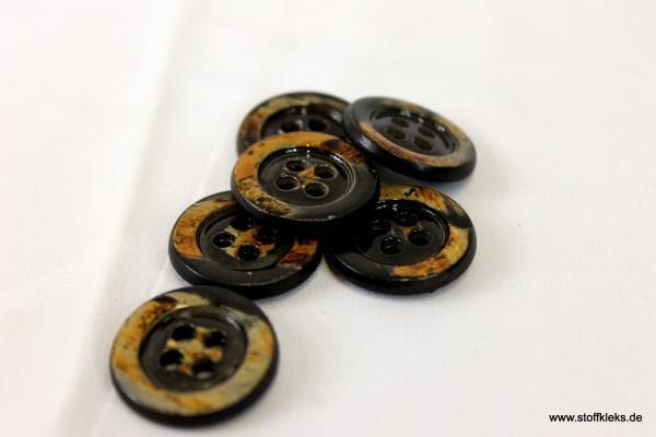 5 runde Knöpfe in Holzoptik   braun/schwarz   ca 2,3cm