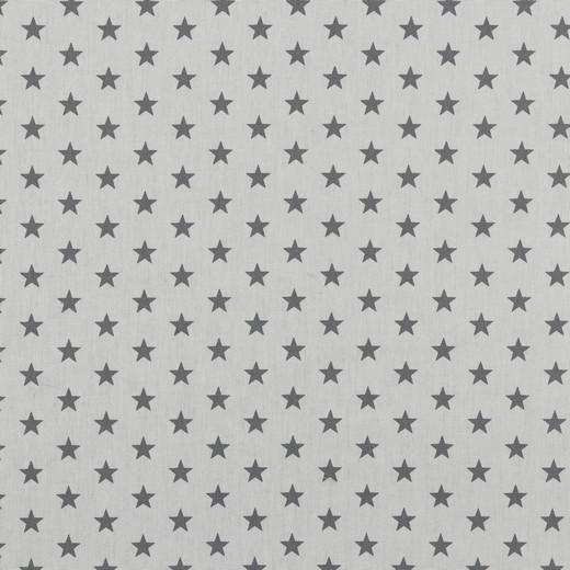 Baumwolle | bedruckt | 10mm Sterne | weiss/grau