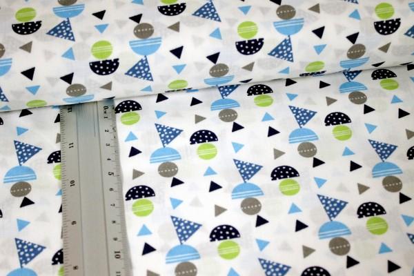 Baumwolle   bedruckt   geometrische Formen   weiß