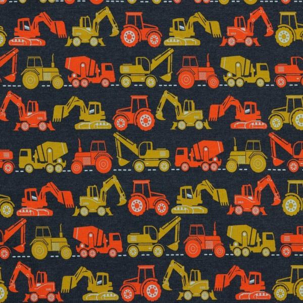 Jersey | bedruckt | Baufahrzeuge | Indigoblau
