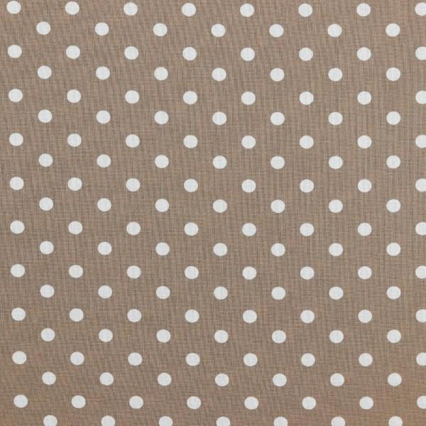 Baumwolle   bedruckt   8mm Punkte   taupe / weiss