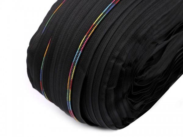 Reißverschluss | endlos | Spirale 6mm | Regenbogen | schwarz