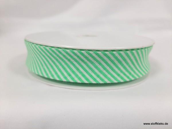 Schrägband/Einfassband | 20mm | Baumwolle | Streifen hellgrün/weiss | 20m