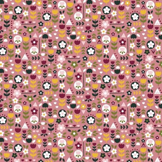 Baumwolle | bedruckt | happy feeling flowers | altrosa
