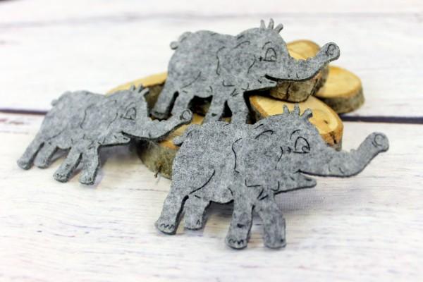 Filzapplikation | Elefant | grau