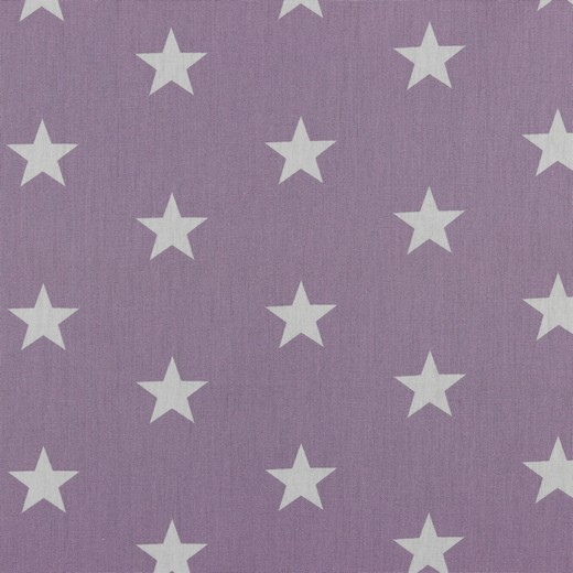 Baumwolle   bedruckt   3cm Sterne   malve / weiss
