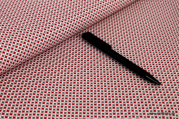 Baumwolle | bedruckt | KaroKreise | rot/beige
