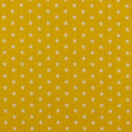 Baumwolle | bedruckt | 10mm Sterne | gelb/weiss