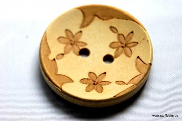 Knopf | Holz | gravierte Blume | 2,5 cm