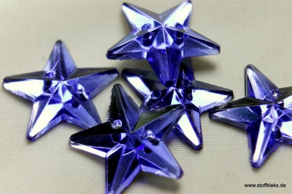 5 Knöpfe   Stern   Kristall   blau   1 ,5 cm