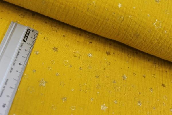 Baumwolle   double gauze / Musselin   goldene Sterne   senf