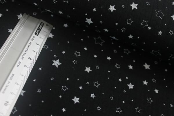 Baumwolle | double gauze / Musselin | volle & leere Sterne | schwarz/weiss