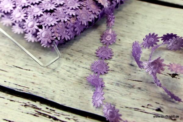 Satinborte | Margeriten | lila | 2 cm