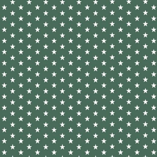 Baumwolle | bedruckt | 10mm Sterne | dunkelgrün/weiss