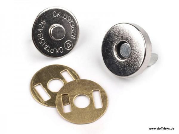 5 Magnetverschlüsse | Ø15 mm | silberfarbend