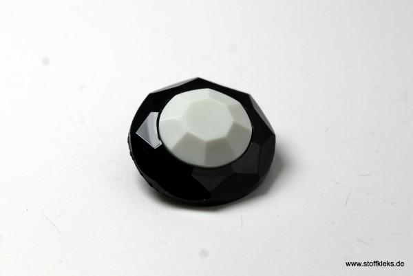 Knopf   Kunststoff   weiß & schwarz   2,2 cm