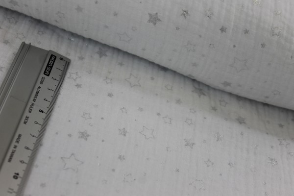 Baumwolle   double gauze / Musselin   silberne Sterne   weiss