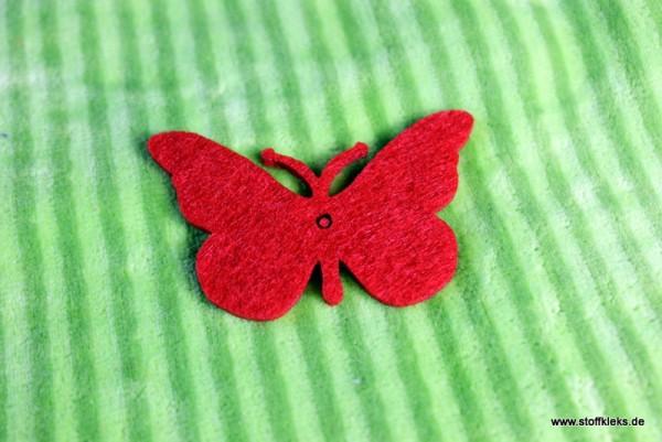 Filzapplikation | Schmetterling | rot
