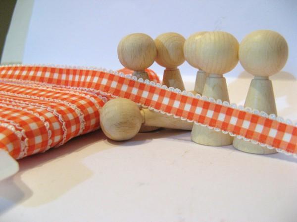 Gummiband | mit Spitze | 15mm | Karo | orange/weiß