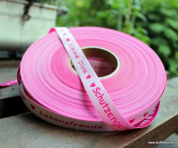 Webband | Worte zartrosa/pink
