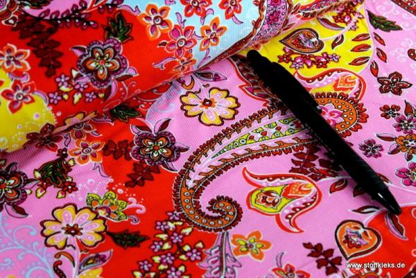 Babycord | bedruckt | Paisley Blumen | rosa