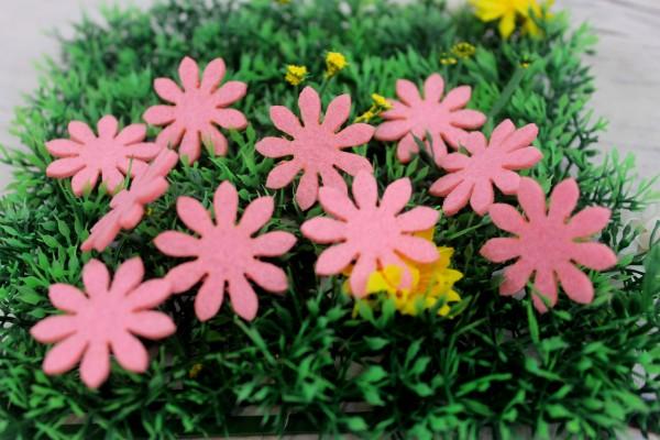 Filzapplikation   Blume   hell pink   3cm