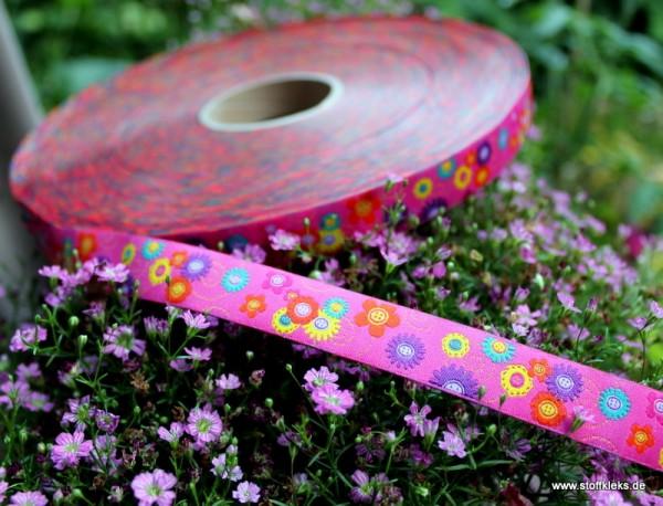 Webband   Knopfblumen   16mm   bunt