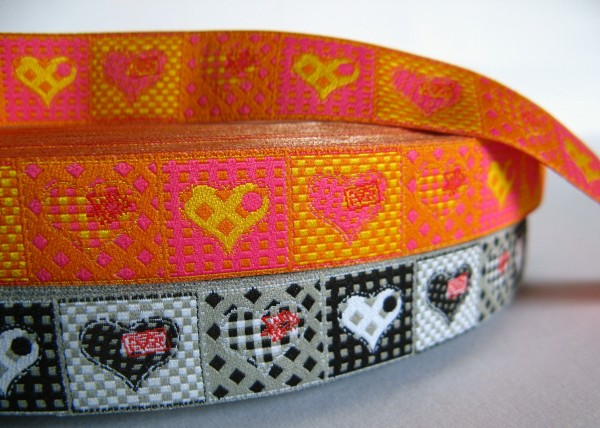 Webband | hearts orange/pink