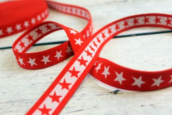 Gummiband   beidseitig nutzbar   Sterne   rot / weiss