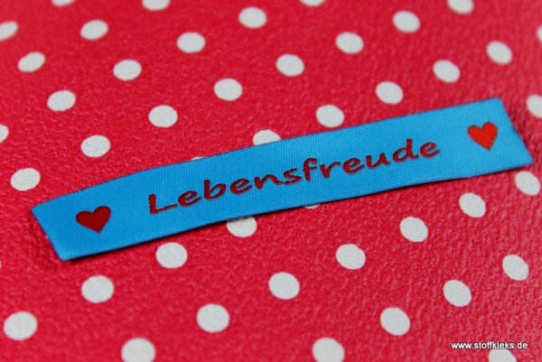 Applikation | Label | Lebensfreude | blau