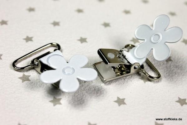 Applikation & Co   Metallclips   Blume   weiß
