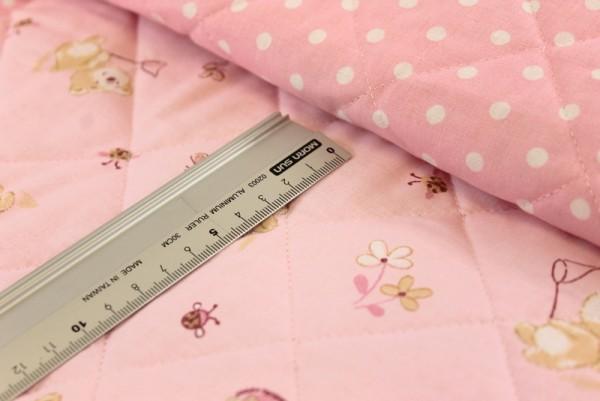 Steppstoff   doubleface   rosa   Mädchenbärchen / Punkte
