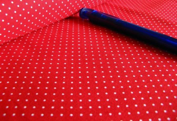Baumwolle | bedruckt | 1mm Punkte | rot/weiss