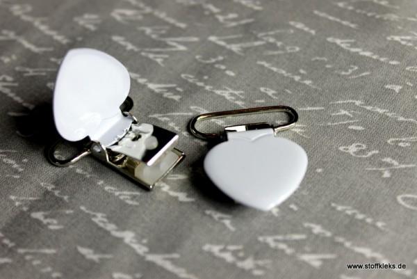 Applikation & Co   Metallclips   Herz   weiß