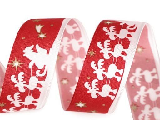 Satinband | Santa mit Rentier | 25mm | rot