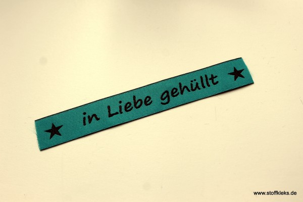 Applikation | Label | in Liebe gehüllt | petrol mit braun | 1,5 cm